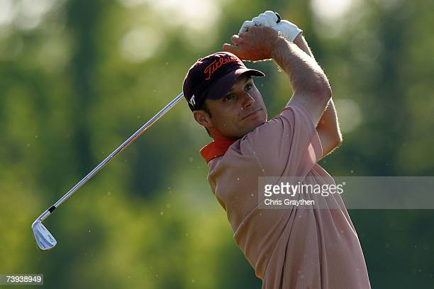 Nick Watney tees off on the 9th hole during the second round of the Zurich Classic of New Orleans at TPC Louisiana on April 20, 2007 in Avondale,...