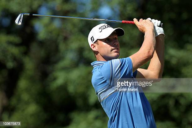 Nick Watney watches his tee shot on the second hole during the second round of The Barclays at the Ridgewood Country Club on August 27 2010 in...
