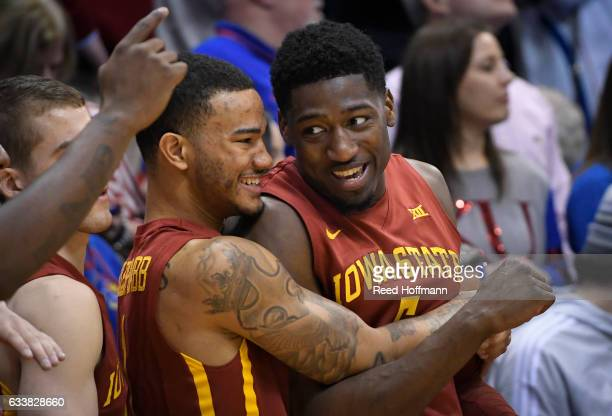 Nick WeilerBabb of the Iowa State Cyclones left and teammate Merrill Holden celebrate their win over the Kansas Jayhawks on February 4 2017 at Allen...