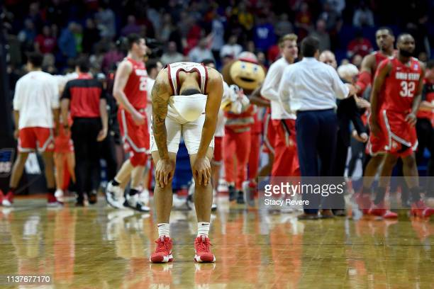 Nick Weiler-Babb of the Iowa State Cyclones reacts after being defeated by the Ohio State Buckeyes in the first round game of the 2019 NCAA Men's...