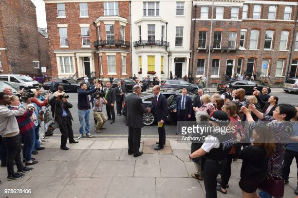 Nick WentworthStanley and Clare Milford Haven shake hands with The Duke of Cambridge as he leaves James' Place in Liverpool on June 19 2018 in...