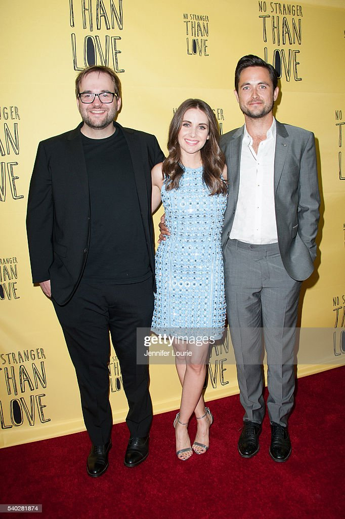 Nick Wernham, Alison Brie, and Justin Chatwin arrive at the premiere of Orion releasing's 'No Stranger Than Love' at the Landmark Theatre on June 14, 2016 in Los Angeles, California.