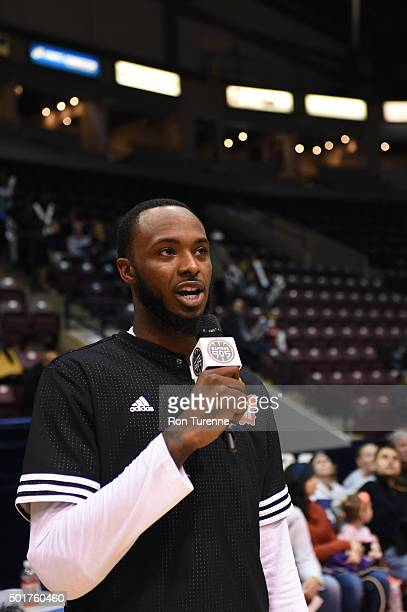 Nick Wiggins of the Raptors 905 addresses the crowd prior to a game against the Grand Rapids Drive at the Hershey Centre on December 16 2015 in...