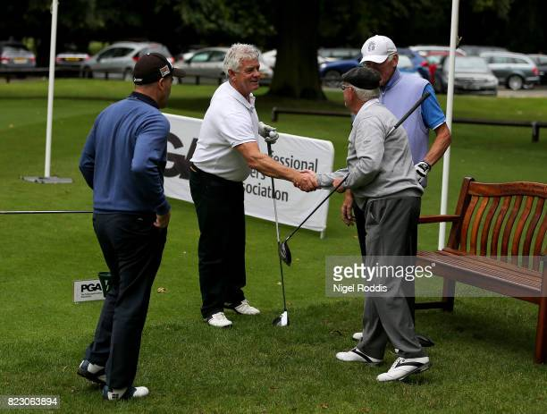 NOTTINGHAM ENGLAND JULY 26 Nick Williams and Martin Biddle of St Enodoc Golf Club with Frank Hill of Thorpeness Golf Club and Roger Winson of...