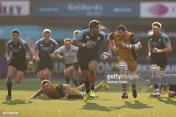 Nick Williams of Cardiff makes a break during the European Rugby Challenge Cup Pool 4 match between Cardiff Blues and Bristol Rugby at the BT Sport...