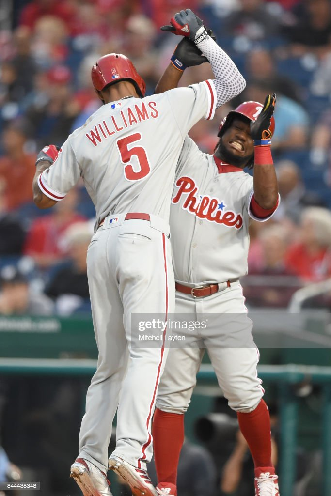 Nick Williams #5 of the Philadelphia Phillies celebrates a three run home run in the first inning with Odubel Herrera #37 during a baseball game against the Washington Nationals at Nationals Park on September 8, 2017 in Washington, DC.