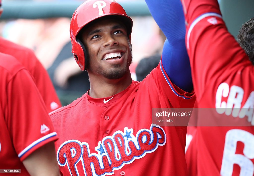 Nick Williams #65 of the Philadelphia Phillies celebrates after hitting a solo home run during the eight inning of the Spring Training Game against the Baltimore Orioles on March 13, 2017 at Ed Smith Stadium in Sarasota, Florida. Baltimore defeated Philadelphia 6-4.