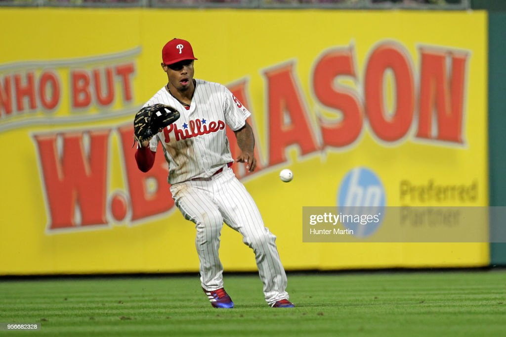 Nick Williams #5 of the Philadelphia Phillies fields a base hit in the ninth inning during a game against the San Francisco Giants at Citizens Bank Park on May 9, 2018 in Philadelphia, Pennsylvania. The Phillies won 11-3.