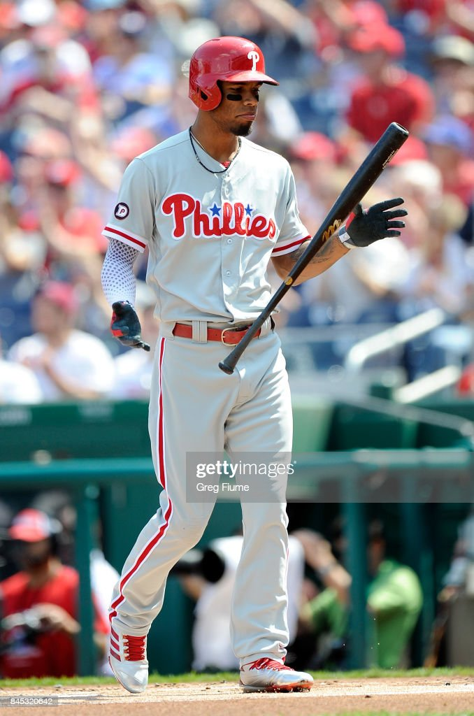 Nick Williams #5 of the Philadelphia Phillies flips his bat after striking out in the first inning against the Washington Nationals at Nationals Park on September 10, 2017 in Washington, DC.