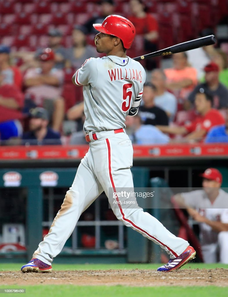 Nick Williams #5 of the Philadelphia Phillies hits a home run in the 9th inning against the Cincinnati Reds at Great American Ball Park on July 26, 2018 in Cincinnati, Ohio.