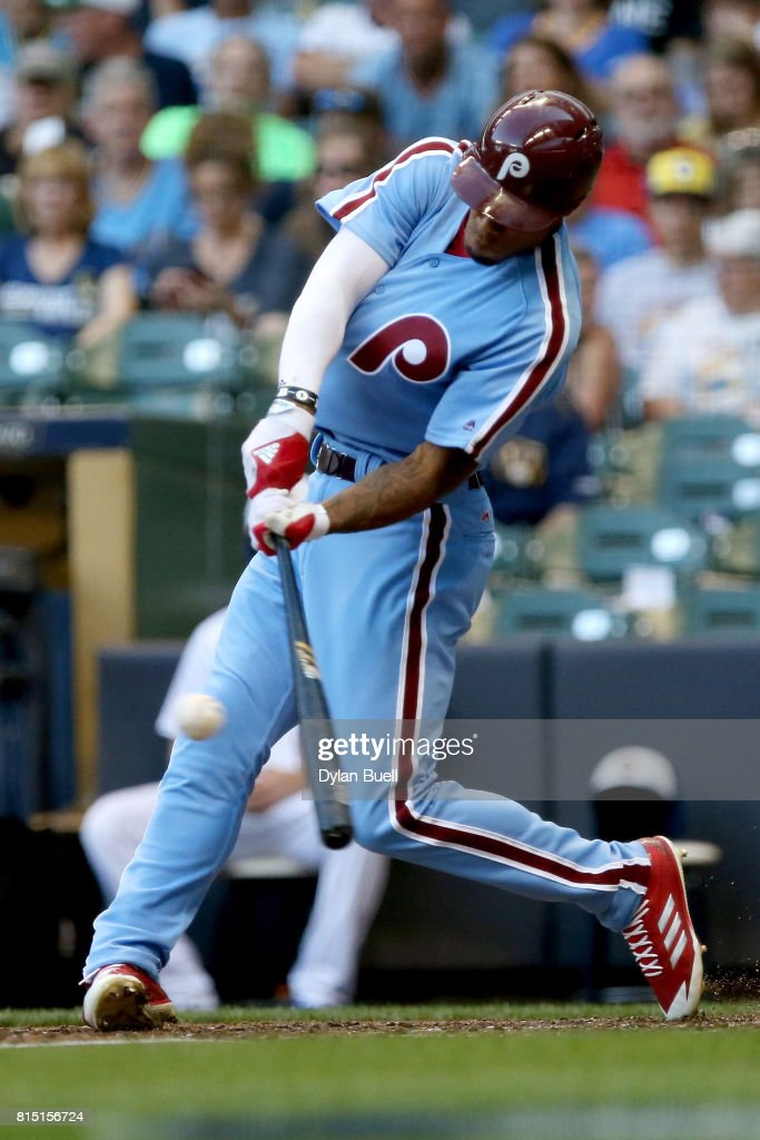 Nick Williams #5 of the Philadelphia Phillies hits a single in the fifth inning against the Milwaukee Brewers at Miller Park on July 15, 2017 in Milwaukee, Wisconsin.