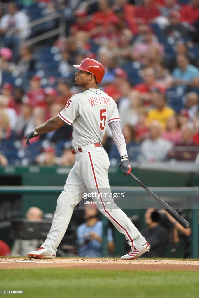 Nick Williams #5 of the Philadelphia Phillies hits a three run home run in the first inning during a baseball game against the Washington Nationals at Nationals Park on September 8, 2017 in Washington, DC.