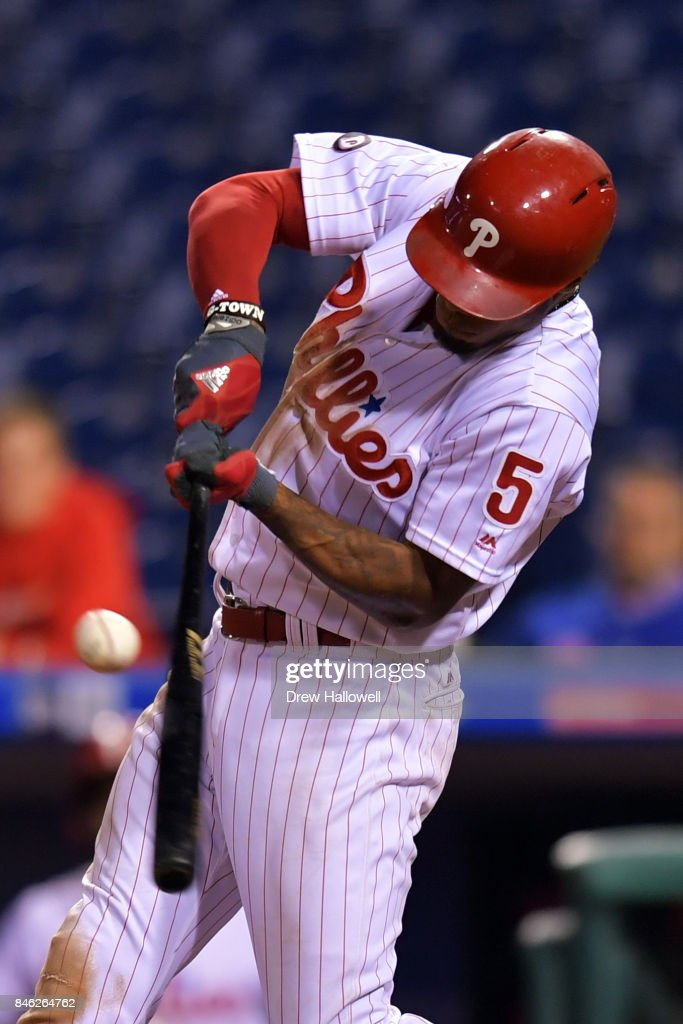 Nick Williams #5 of the Philadelphia Phillies hits a walk off RBI double in the 15th inning against the Miami Marlins at Citizens Bank Park on September 12, 2017 in Philadelphia, Pennsylvania. The Phillies won 9-8.