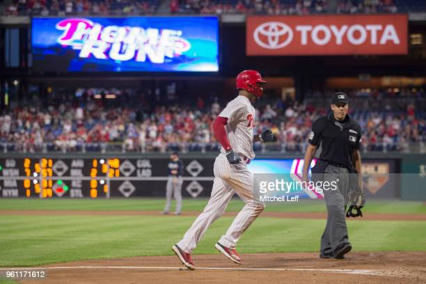 Nick Williams of the Philadelphia Phillies makes his way to home plate after hitting a solo home run in the bottom of the fourth inning against the...
