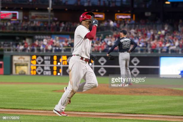 Nick Williams of the Philadelphia Phillies reacts in front of Mike Foltynewicz of the Atlanta Braves after hitting a solo home run in the bottom of...