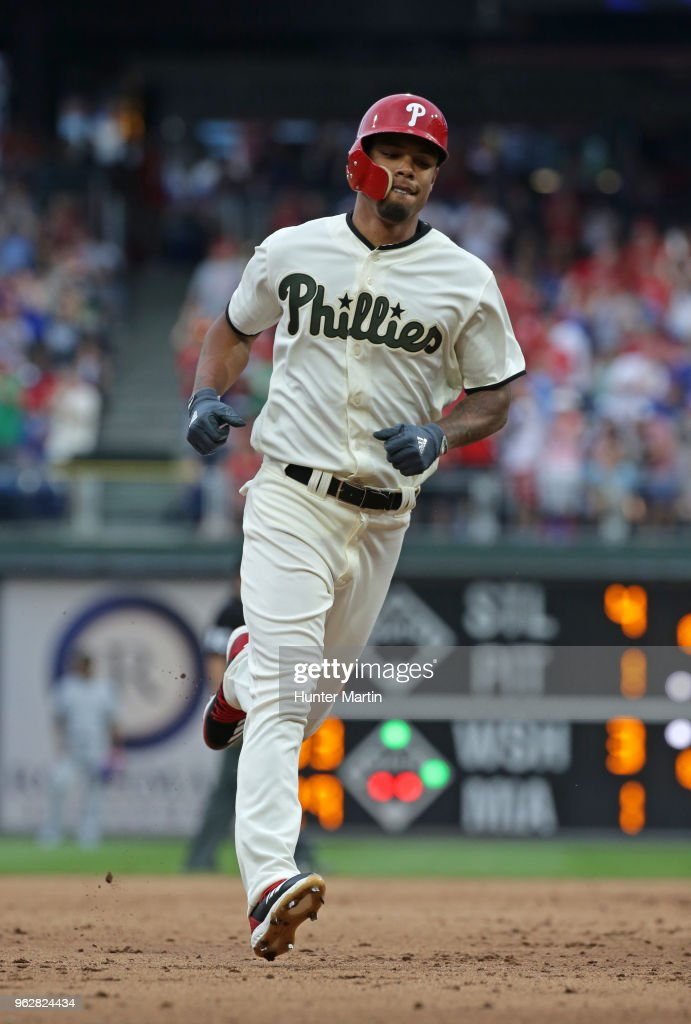 Nick Williams #5 of the Philadelphia Phillies rounds the bases after hitting a solo home run in the eighth inning during a game against the Toronto Blue Jays at Citizens Bank Park on May 26, 2018 in Philadelphia, Pennsylvania. The Phillies won 2-1.