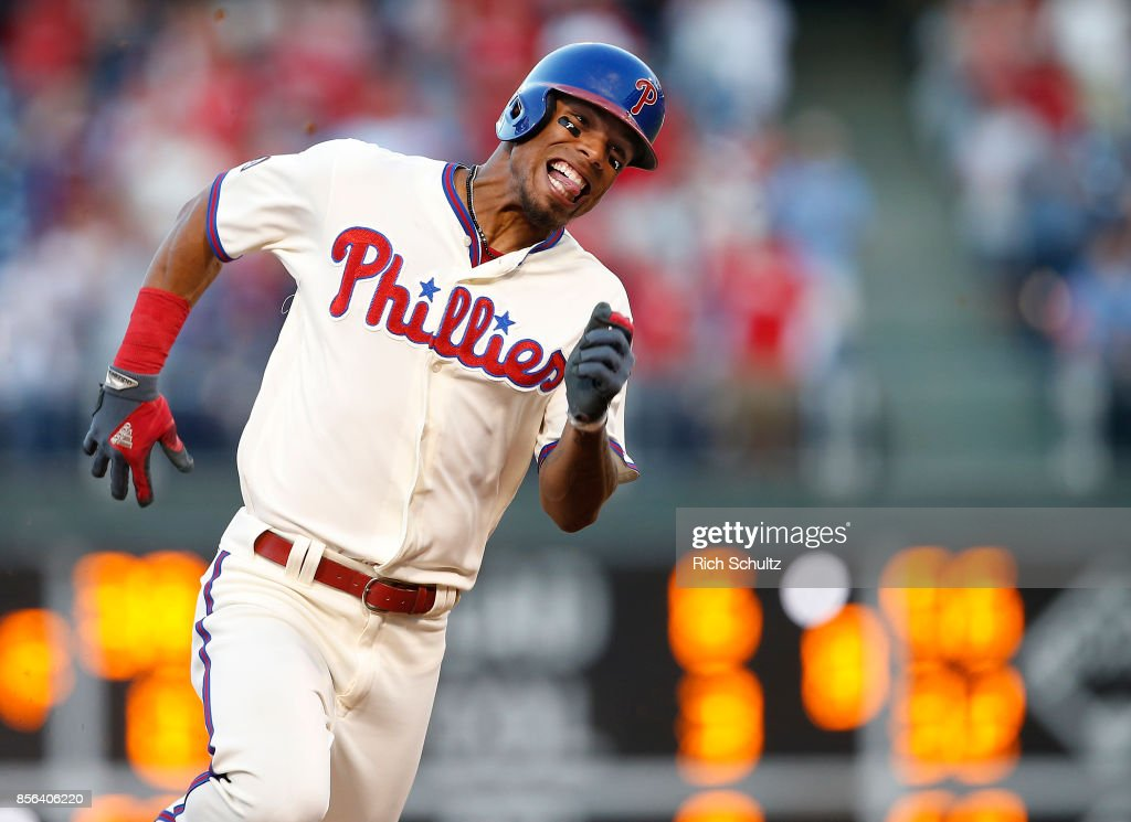 Nick Williams #5 of the Philadelphia Phillies rounds third base as he hits a three-run inside the park home run against the New York Mets during the eighth inning of a game at Citizens Bank Park on October 1, 2017 in Philadelphia, Pennsylvania.