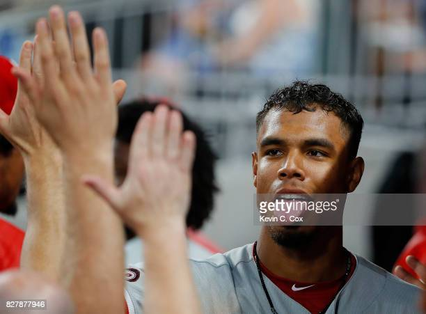 Nick Williams of the Philadelphia Phillies scores on a RBI single hit by Zach Eflin in the fourth inning against the Atlanta Braves at SunTrust Park...