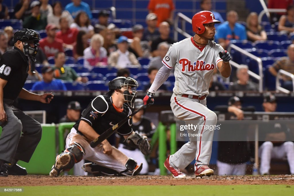 Nick Williams #5 of the Philadelphia Phillies triples in the eighth inning against the Miami Marlins at Marlins Park on September 2, 2017 in Miami, Florida.