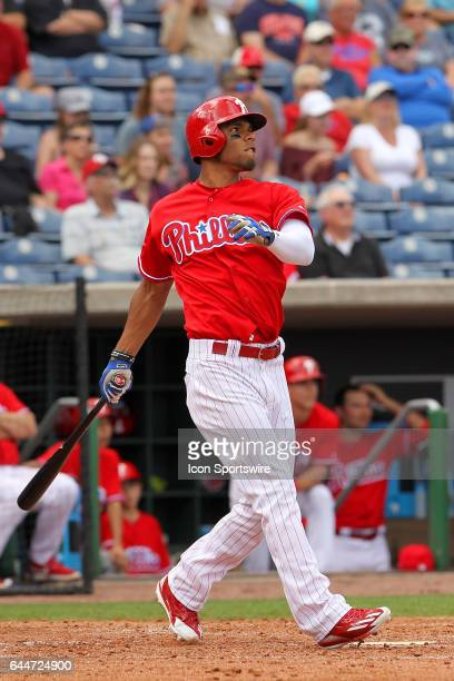 Nick Williams of the Phillies at bat during the spring training exhibition game between the University of Tampa Spartans and the Philadelphia...