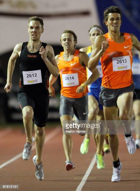 Nick Willis of New Zealand and Jeff Riseley of Australia compete in the Mens 800m race during the International Track Meet at QE II Park on March 18,...