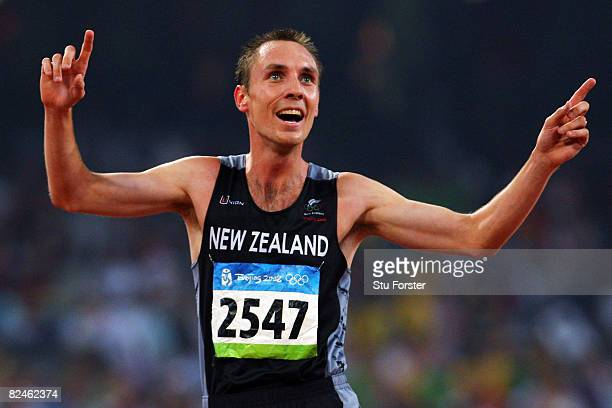 Nick Willis of New Zealand celebrates third place in the Men's 1500m Final and the bronze medal held at the National Stadium on Day 11 of the Beijing...