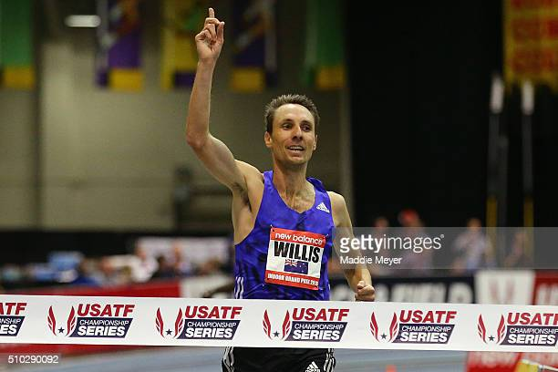 Nick Willis of New Zealand celebrates winning the Men's Mile duirng the New Balance Indoor Grand Prix at Reggie Lewis Center on February 14, 2016 in...