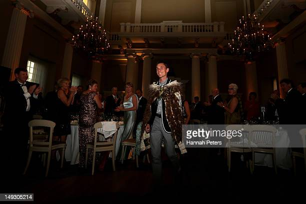 Nick Willis of New Zealand is announced as the flagbearer for the opening ceremony during the NZOC Governor General's Gala Dinner ahead of the London...