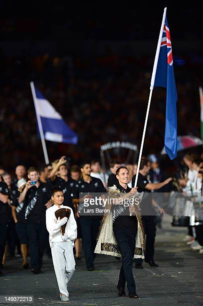 Nick Willis of the New Zealand Olympic athletics team carries his country's flag during the Opening Ceremony of the London 2012 Olympic Games at the...