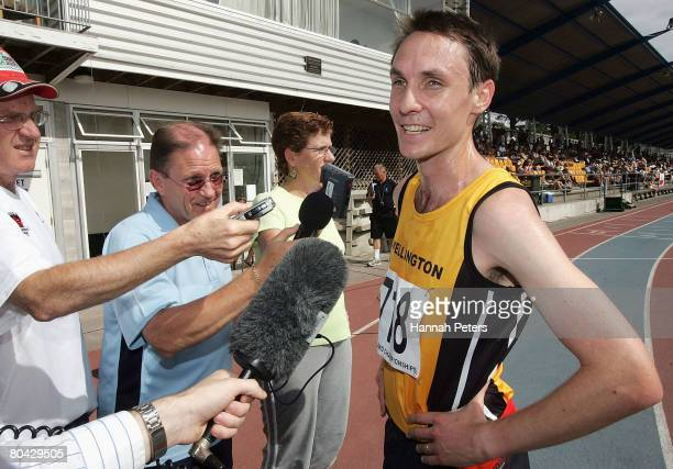 Nick Willis of Wellington speaks to the media after winning the Senior Men's 1500m race during day three of the New Zealand Athletics Championships...
