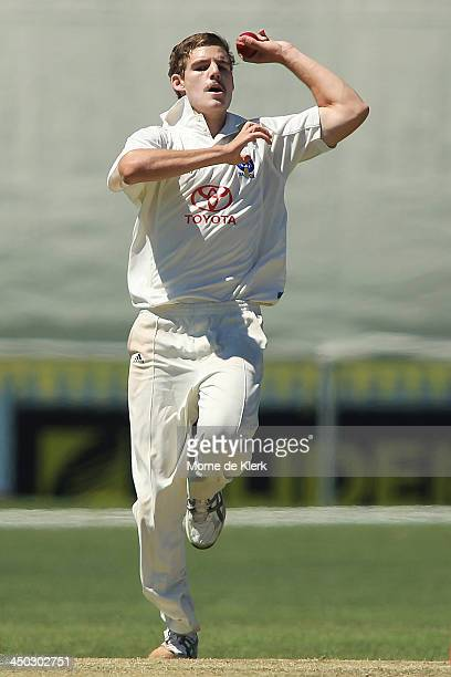 Nick Winter of SA bowls during day one of the Futures League match between South Australia and the ACT on November 18 2013 in Adelaide Australia