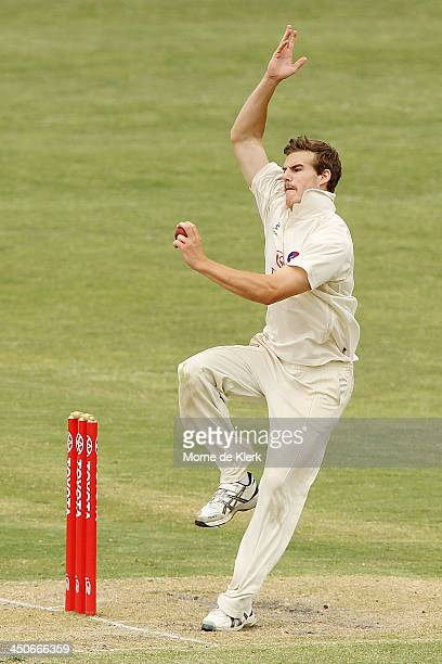 Nick Winter of SA bowls during day three of the Futures League match between South Australia and the ACT on November 20 2013 in Adelaide Australia