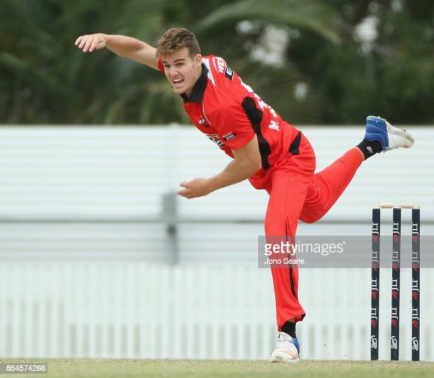 Nick Winter of SA bowls the ball during the JLT One Day Cup match between South Australia and the Cricket Australia XI at Allan Border Field on...