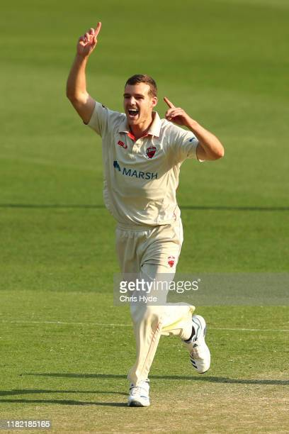 Nick Winter of South Australia celebrates dismissing Joe Burns of Queensland during day three of the Sheffield Shield match between Queensland and...
