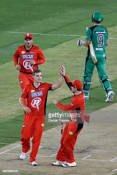 Nick Winter of the Melbourne Renegades is congratulated by team mates after taking the wicket of Cameron White of the Melbourne Stars during the Big...