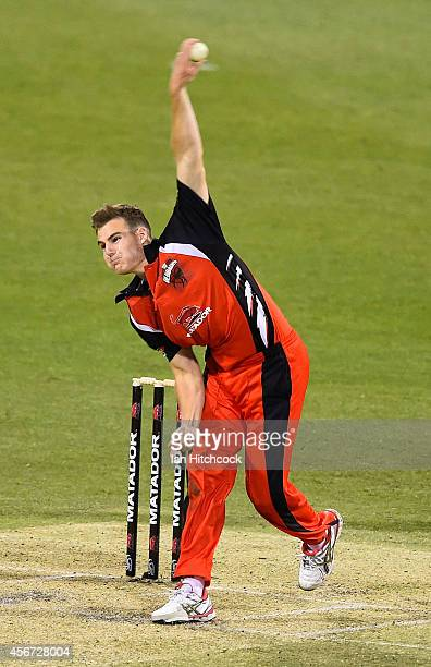 Nick Winter of the Redbacks bowls during the Matador BBQs One Day Cup match between Victoria and South Australia at The Gabba on October 6 2014 in...