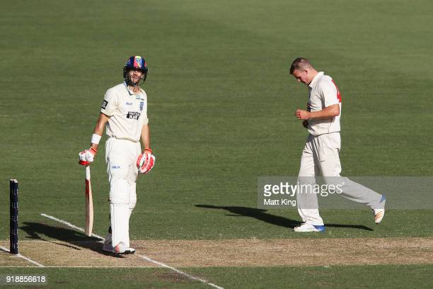 Nick Winter of the Redbacks celebrates taking the wicket of Kurtis Patterson of the Blues during day one of the Sheffield Shield match between New...