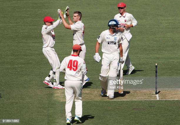 Nick Winter of the Redbacks celebrates with team mates after taking the wicket of Moises Henriques of the Blues during day one of the Sheffield...