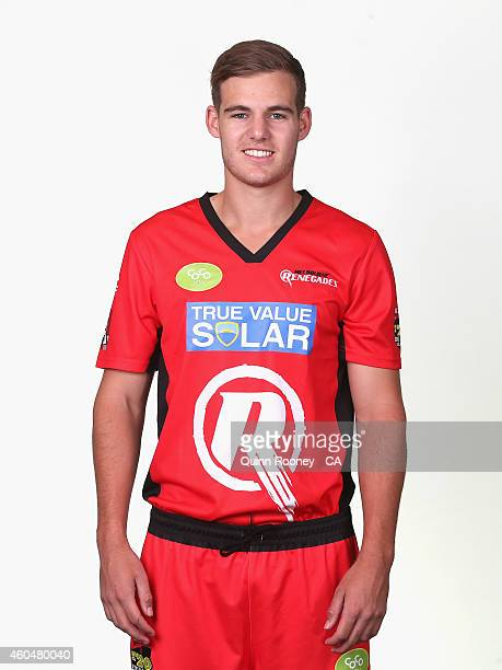 Nick Winter of the Renegades poses during the Melbourne Renegades Big Bash League headshots session at Soniq Headquarters on December 15 2014 in...