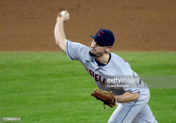 Nick Wittgren of the Cleveland Indians pitches against the Detroit Tigers during the seventh inning at Comerica Park on September 19 in Detroit...