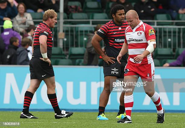 Nick Wood of Gloucester is sent off after 73 seconds by referee Wayne Barnes during the Aviva Premiership match between Saracens and Gloucester at...