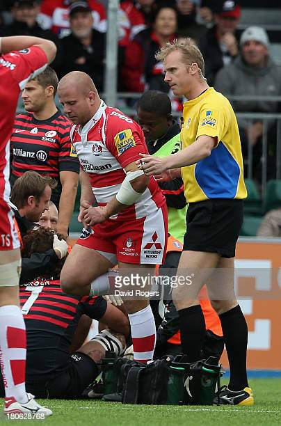 Nick Wood of Gloucester is sent off in the early minutes by referee Wayne Barnes during the Aviva Premiership match between Saracens and Gloucester...