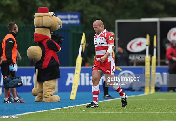 Nick Wood of Gloucester is sent off in the first minute by referee Wayne Barnes during the Aviva Premiership match between Saracens and Gloucester at...