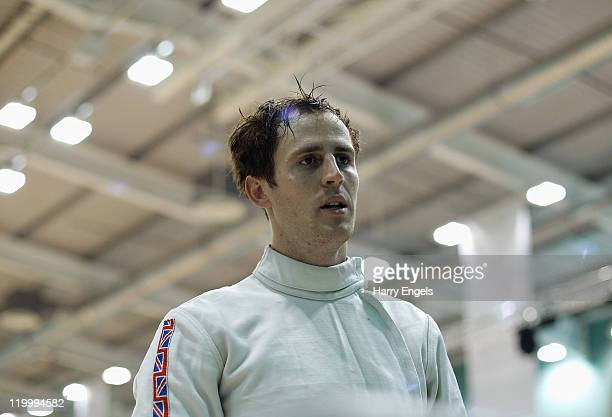 Nick Woodbridge of Great Britian looks on during the men's semi final round at the modern pentathlon European Championships at Medway Park on July 28...