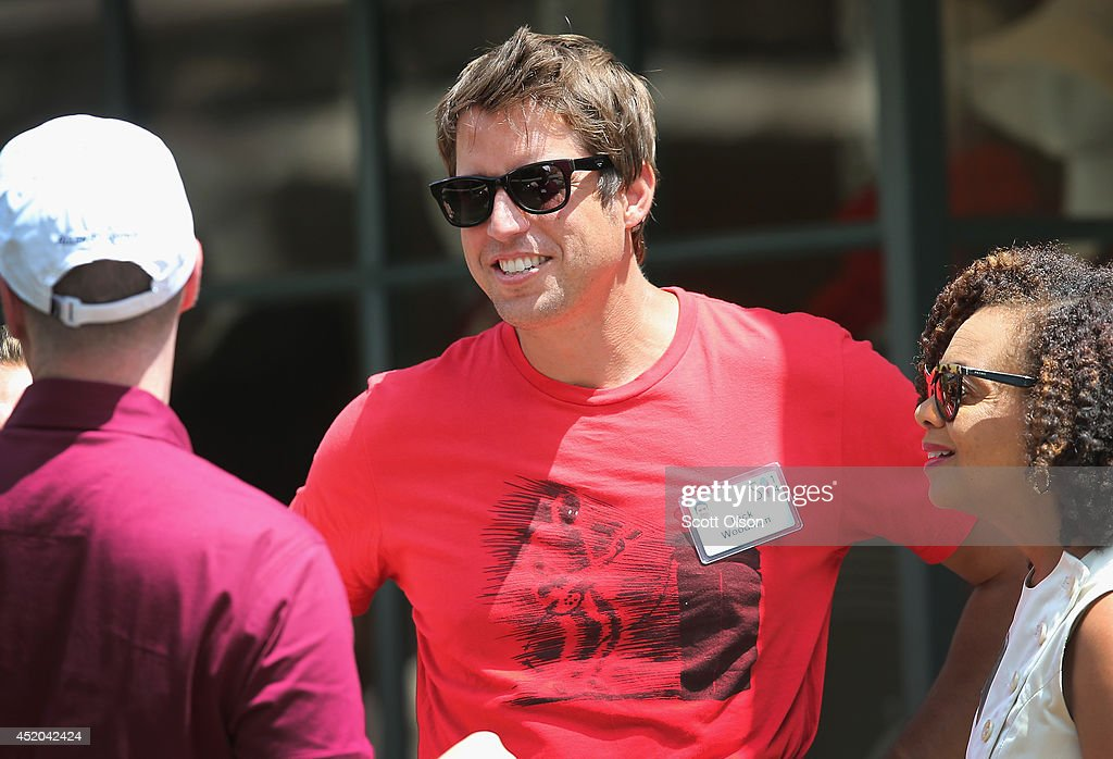 Nick Woodman, founder and chief executive officer of GoPro Inc., chats with guests at the Allen & Company Sun Valley Conference on July 11, 2014 in Sun Valley, Idaho. Many of the worlds wealthiest and most powerful businessmen from media, finance, and technology attend the annual week-long conference which is in its 32nd year.