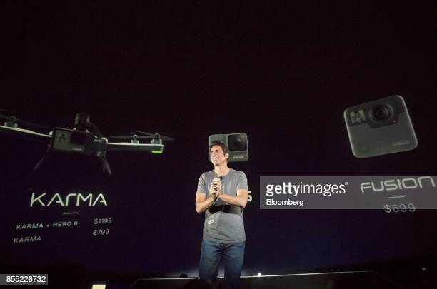 Nick Woodman founder and chief executive officer of GoPro Inc pauses while speaking during an event in San Francisco California US on Thursday Sept...