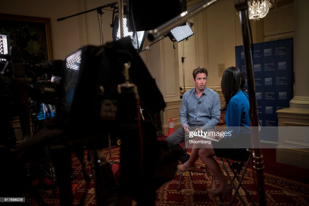 Nick Woodman, founder of extreme sports camera maker GoPro Inc., speaks during a Bloomberg Television interview at the Goldman Sachs Technology and Internet Conference in San Francisco, California, U.S., on Tuesday, Feb. 13, 2018. Woodman discussed new revenue streams for the business. Photographer: David Paul Morris/Bloomberg via Getty Images