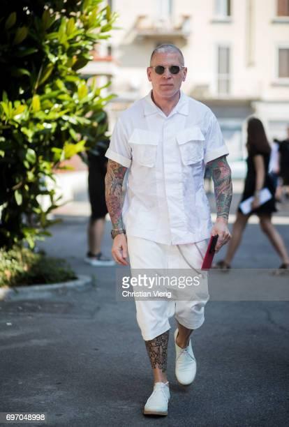 Nick Wooster is seen outside Diesel during Milan Men's Fashion Week Spring/Summer 2018 on June 17 2017 in Milan Italy