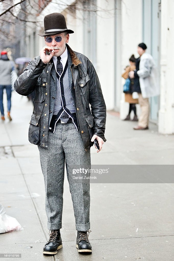 Nick Wooster seen outside the Thom Browne show on February 11, 2013 in New York City.