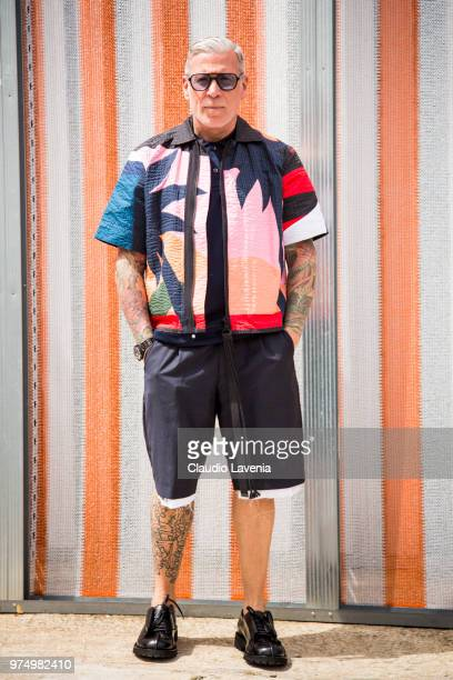 Nick Wooster wearing colorfull jacket and black shorts is seen during the 94th Pitti Immagine Uomo at Fortezza Da Basso on June 14 2018 in Florence...
